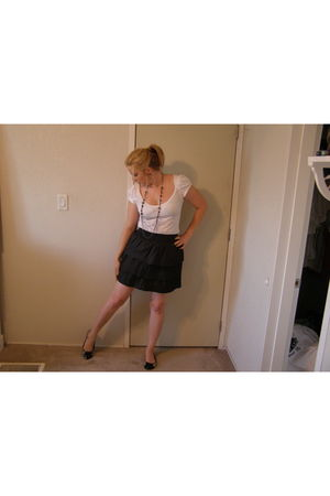 black Walmart dress - black Anchor Blue necklace - black payless shoes - white C