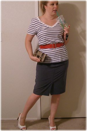 white Jessica Simpson shoes - blue JCPennys skirt - red Wet Seal belt - white Ol