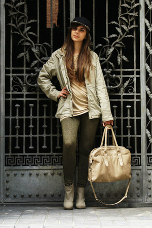 cream H&amp;M boots - olive green Terranova leggings - cream SH bag