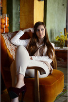 ivory reserved blazer - neutral SH shirt - white perls reserved necklace