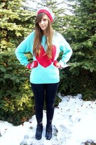 light blue SH sweater - red no name hat - black c&a leggings