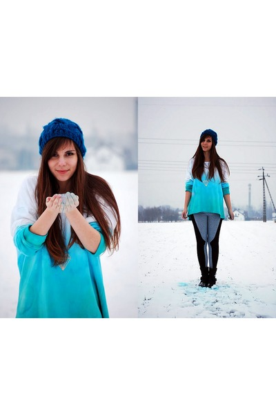 sky blue ombre DIY blouse - turquoise blue hat - periwinkle sammydress leggings