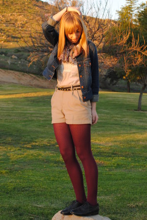 Urban Outfitters shoes - Levis jacket - vintage scarf - H&M blouse - H&M earring