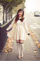 romwe dress - white - brown new look tights - beige ANDRE sandals