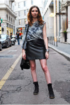 gray just female t-shirt - All Saints boots - black H&M skirt - asos