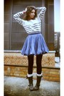White-vila-sweater-blue-fifth-avenue-shoe-repair-skirt-black-sendra-boots-