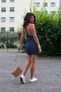 White-converse-shoes-blue-denim-naia-acne-dress