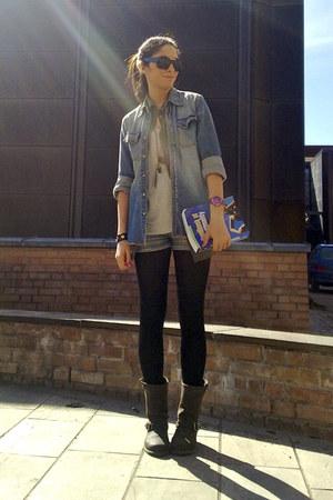 dark brown biker Frye boots - blue denim Nudie shirt
