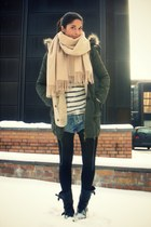 army green asos jacket - beige acne scarf - blue acne shorts - black sendra boot