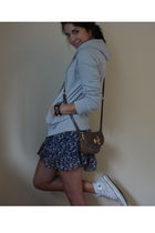brown Marc by Marc Jacobs purse - blue GINA TRICOT dress - gray H&M sweater - wh