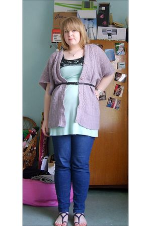 green vest - blue jeans - purple Zara cardigan - black belt - purple Dorothy Per