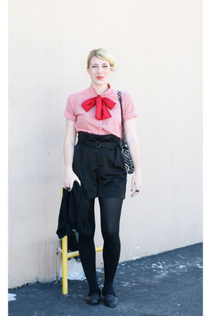 coral vintage shirt - black Urban Outfitters tights - red vintage scarf - black