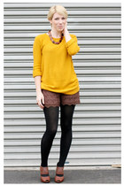 Urban Outfitters sweater - Forever 21 tights - luluscom shorts - Forever 21 heel