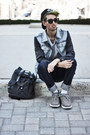 Heather-gray-denim-leather-viparo-jacket-gray-rucksack-mojo-bag