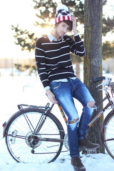 stars romwe hat - suede XXI shoes - jeans Diesel pants