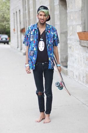 black no face Gypsy Sale shirt - navy abstract shirt Gypsy Sale shirt