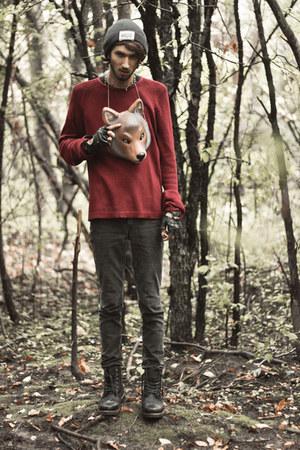 crimson maroon thrifted sweatshirt