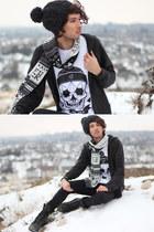 black unholy scarf Denada scarf - white Denada shirt