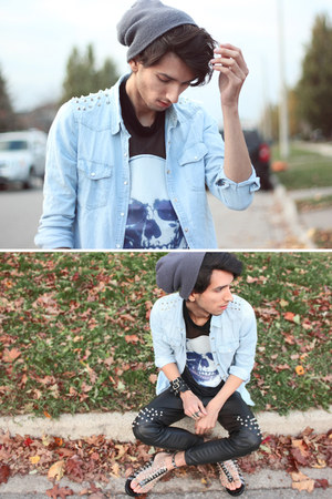 light blue spikes denim chicnova shirt - charcoal gray mesh skull romwe shirt