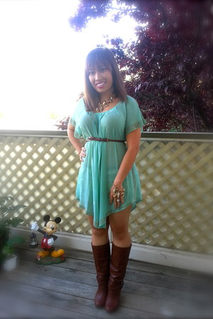 Icing necklace - pink and pepper boots - sheer Forever21 dress - Icing bracelet