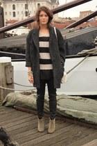 Isabel Marant boots - Isabel Marant coat - leather COS pants - H&M jumper