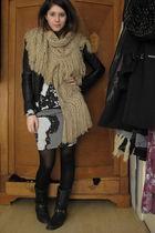 vintage boots - H&M Trend dress - Zara jacket - H&M scarf