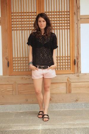 unknown brand blouse - Mango shorts - Mango sandals