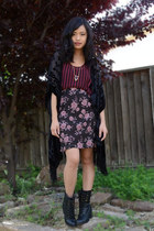 laceup booties Charlotte Russe boots - Urban Outfitters cardigan