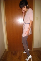 Lux dress - f21 necklace - opaque tights uo tights - white platforms Charlotte R