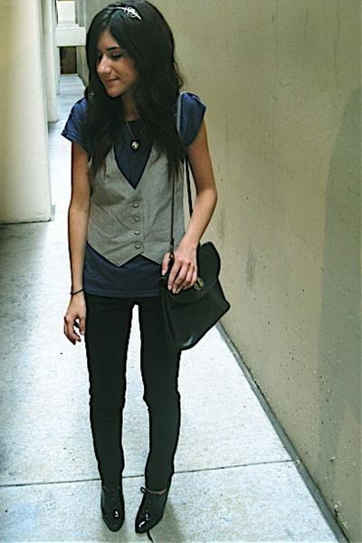 f21 vest - Lux jeans - vintage purse - UO shirt