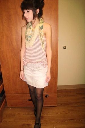 f21 scarf - Levis skirt - Walmart tights - f21 shirt