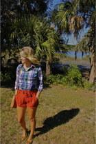 silence and noise shorts - J Crew shirt - Rebecca Minkoff bag