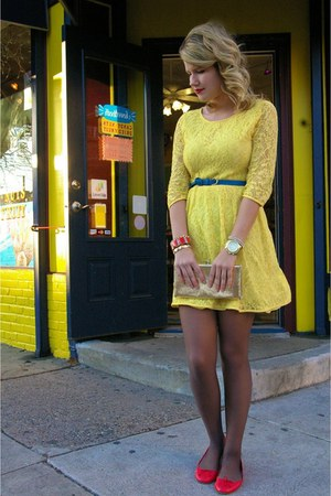 yellow Forever 21 dress - vintage bag - blue J Crew belt - red J Crew flats