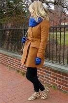 bronze J Crew coat - Steve Madden boots - black BDG jeans - Forever 21 scarf