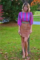 vintage bag - vintage skirt - J Crew belt - Kimchi Blue heels - vintage blouse
