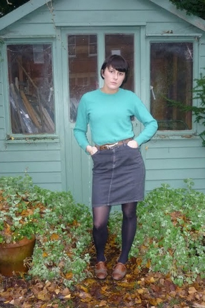 black American Apparel skirt - green thrifted sweater - brown Grandmas belt