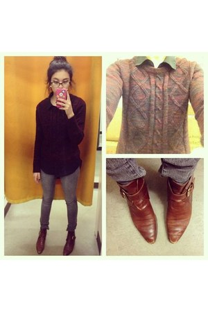 brick red Forever 21 sweater - burnt orange khole haan shoes