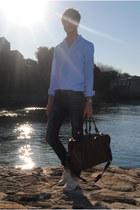 pull&bear jeans - pull&bear shirt - Zara bag - Zara sunglasses - H&M sneakers