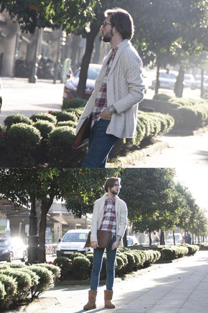 Ugg boots - Topman jeans - H&M shirt - suiteblanco cardigan