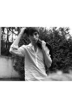 white Pull and Bear shirt - black Bershka jacket