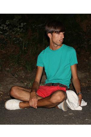 red H&M shorts - white handmade bag - dark brown Zara belt