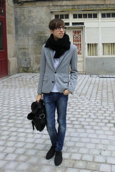 black BLANCO scarf - charcoal gray Zara blazer - white BLANCO t-shirt - black Za