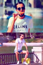 Levis shorts - Zara sunglasses - Celine t-shirt - nike sneakers