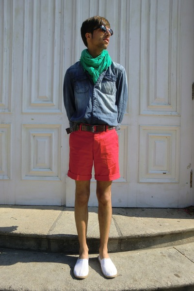 neutral H&M shoes - blue pull&bear shirt - turquoise blue Zara scarf - red H&M s