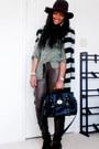 Wool-fedora-hat-bag-faux-leather-pants-blouse