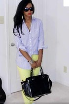 lime green neon skinny jeans - blue shirt - black JustFabcom bag