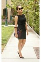 black bandage bcbg max azria skirt - black lace vintage blouse