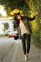 black metallic Sanctuary jeans - olive green brocade Sanctuary jacket