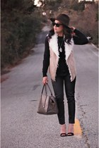 light brown fur Macys vest - black leather Joie pants