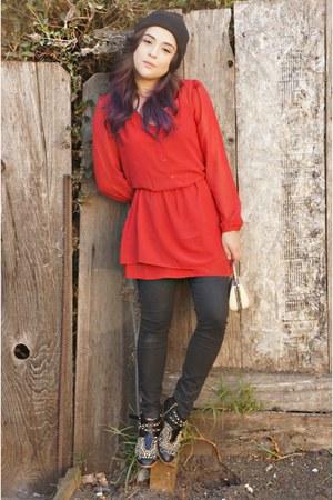 black studded Zara boots - ruby red chiffon Impulse dress